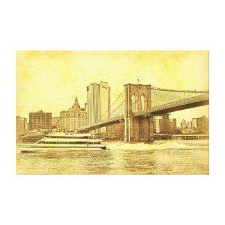 NYC Skyline Brooklyn Bridge Boat Etched Look #1BR Canvas Print