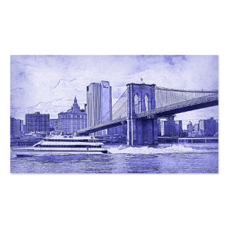 NYC Skyline Brooklyn Bridge Boat Etched Look #2 Pack Of Standard Business Cards