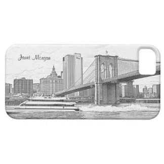 NYC Skyline Brooklyn Bridge Boat Etched Look #3 Case For The iPhone 5