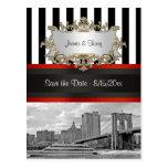 NYC Skyline Brooklyn Bridge, Boat Save the Date
