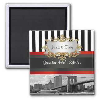 NYC Skyline Brooklyn Bridge, Boat Save the Date Square Magnet