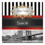 NYC Skyline Brooklyn Bridge, Boat Sweet 16 Invite