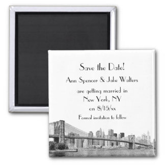 NYC Skyline Brooklyn Bridge Etched Save the Date Square Magnet