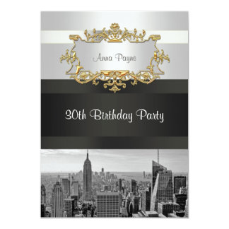NYC Skyline BW 05 White, Black Birthday Invite