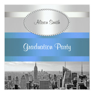 NYC Skyline BW 05 White Blue 2 Graduation Invite