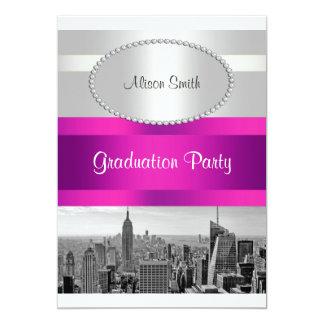 NYC Skyline BW 05 White Hot Pink Graduation Invite