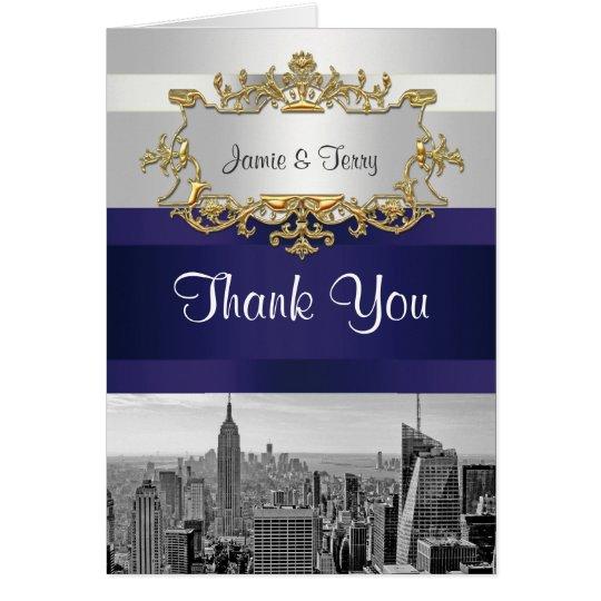 NYC Skyline BW 05 White Navy Blue Thank