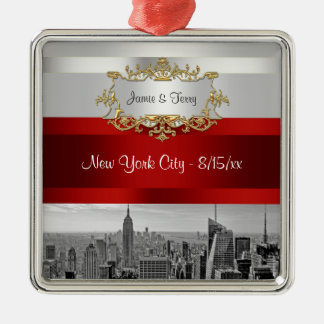 NYC Skyline BW 05 White Red Invite Suite Christmas Ornament