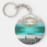 NYC Skyline BW 05 White Teal Invite Suite Basic Round Button Key Ring