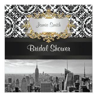 NYC Skyline BW 431 Damask  Bridal Shower Invite