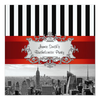 NYC Skyline BW B2 Bachelorette Party Invitation