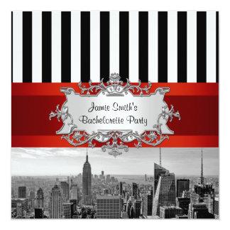 "NYC Skyline BW B2 Bachelorette Party Invitation 5.25"" Square Invitation Card"