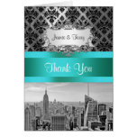 NYC Skyline Bw B3 Damask F2 Thank You Note Note Card