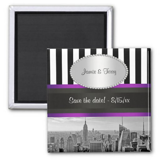 NYC Skyline BW Blk Wht Strp Purple P Save Date Magnets