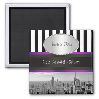 NYC Skyline BW Blk Wht Strp Purple P Save Date Square Magnet