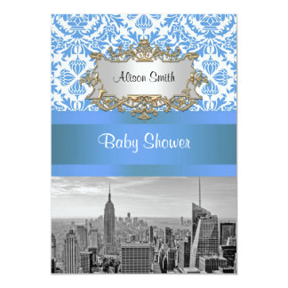 NYC Skyline BW D4 Damask Baby Shower Invite V