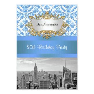 NYC Skyline BW D4 Damask Birthday Party V 13 Cm X 18 Cm Invitation Card