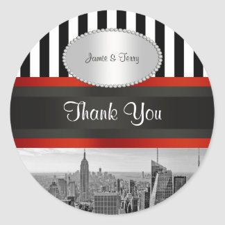NYC Skyline BW ESB Black White Stripe P Favor Tags Round Sticker