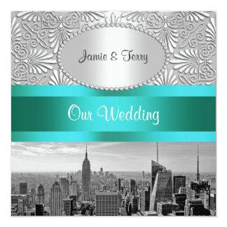 NYC Skyline BW Silver White Damask Wedding 13 Cm X 13 Cm Square Invitation Card
