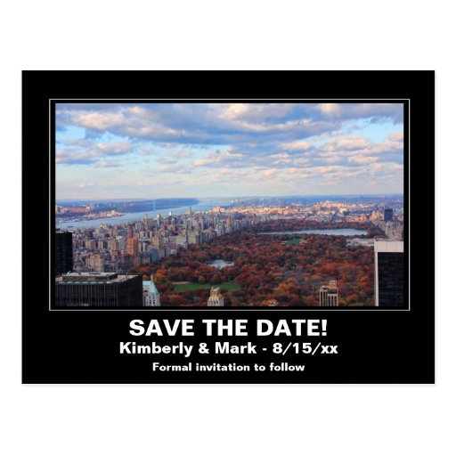 NYC Skyline Central Park From Above Save the Date Postcards