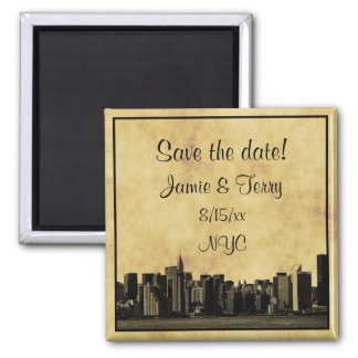 NYC Skyline Chrysler Citi Etched 01 Save the Date Square Magnet