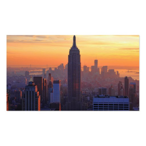 NYC Skyline: Empire State Building Orange Sunset 2 Business Card Template