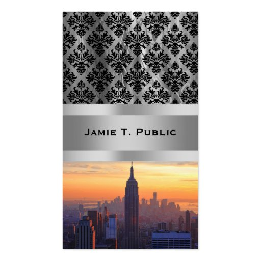 NYC Skyline: Empire State Building Orange Sunset 2 Business Card Templates