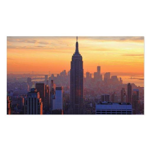 NYC Skyline: Empire State Building Orange Sunset 2 Business Card