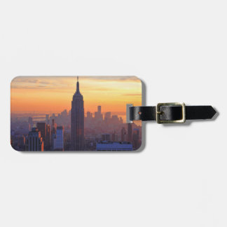 NYC Skyline: Empire State Building Orange Sunset 2 Luggage Tag