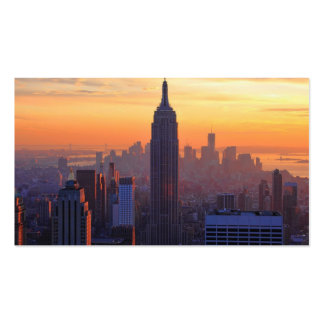 NYC Skyline Empire State Building Orange Sunset Business Card Templates