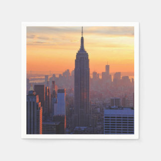 NYC Skyline: Empire State Building Orange Sunset Paper Napkin