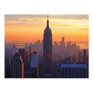 NYC Skyline: Empire State Building Orange Sunset Postcard