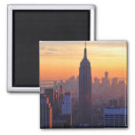NYC Skyline: Empire State Building Orange Sunset Square Magnet