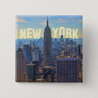 NYC Skyline Empire State Building, World Trade 2C 15 Cm Square Badge