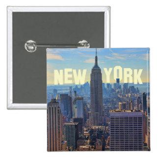 NYC Skyline Empire State Building, World Trade 2C 15 Cm Square Badge