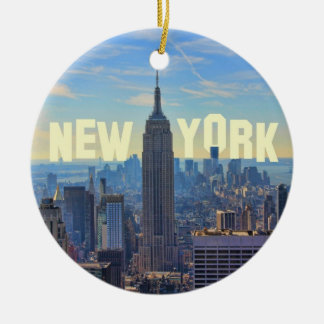 NYC Skyline Empire State Building, World Trade 2C Christmas Ornament