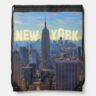 NYC Skyline Empire State Building, World Trade 2C Drawstring Bag