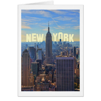 NYC Skyline Empire State Building, World Trade 2C Greeting Card