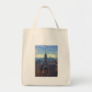 NYC Skyline Empire State Building, World Trade 2C Grocery Tote Bag