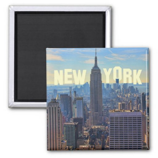 NYC Skyline Empire State Building, World Trade 2C Refrigerator Magnet