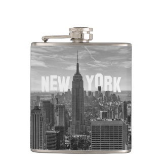 NYC Skyline Empire State Building World Trade 2CBW Hip Flask