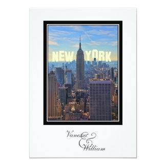 NYC Skyline Empire State Building WTC 2 Wedding 13 Cm X 18 Cm Invitation Card