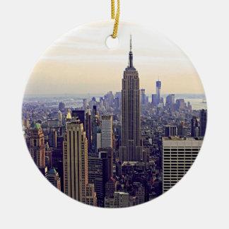 NYC skyline Empire State Building, WTC 4 Round Ceramic Decoration
