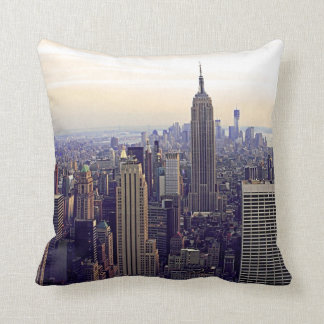 NYC skyline Empire State Building, WTC 4 Throw Pillow