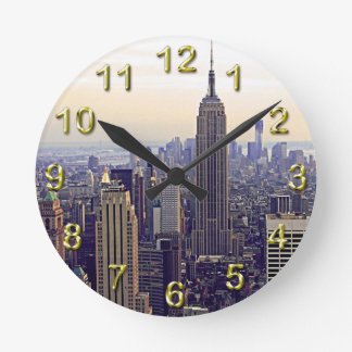 NYC skyline Empire State Building, WTC 4 Wallclock