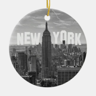 NYC Skyline Empire State Building, WTC BW 2C Christmas Ornament
