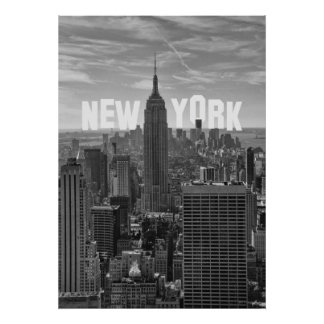 NYC Skyline Empire State Building, WTC BW 2C Poster