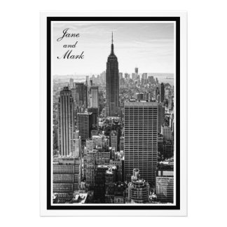 NYC Skyline Empire State Building, WTC BW Invite
