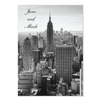 NYC Skyline Empire State Building WTC BW Wedding 13 Cm X 18 Cm Invitation Card