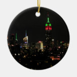 NYC Skyline: Empire State Building Xmas Colours Christmas Tree Ornaments